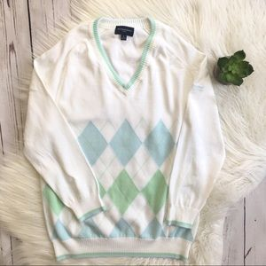 BURBERRY Authentic Golf Argyle Sweater Top